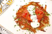 Parsnip Latke, Severn & Wye Smoked Salmon, Sour Cream & Chives