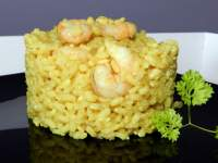 Arroz integral al curry con gambas