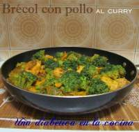 Brécol con pollo al curry