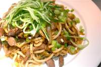 Black Pepper Sirloin Noodles with Cucumber & Spring Onion