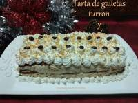 Tarta de galletas, turron y cafe